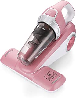 Houzetek Bed Vacuum Cleaner with Roller Brush Corded Handheld, Cyclonic Filtration System with HEPA Filter , Pink