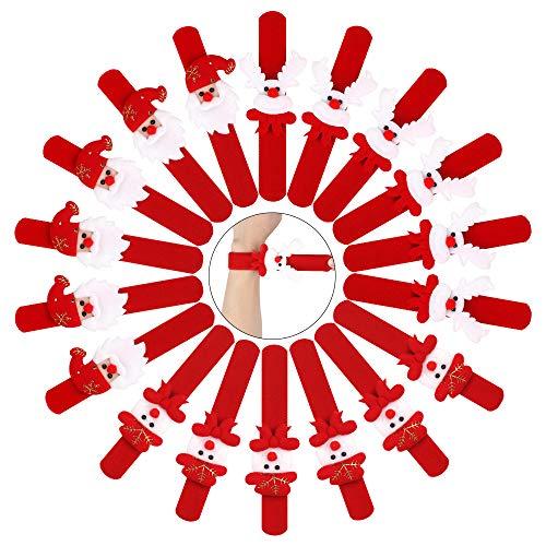 Heqishun Braccialetti di Natale, 24 Pezzi Braccialetti di Schiaffo di Natale per Bambini Braccialetti di Schiaffo Forniture per Feste di Compleanno per Bambini (3 Stili)