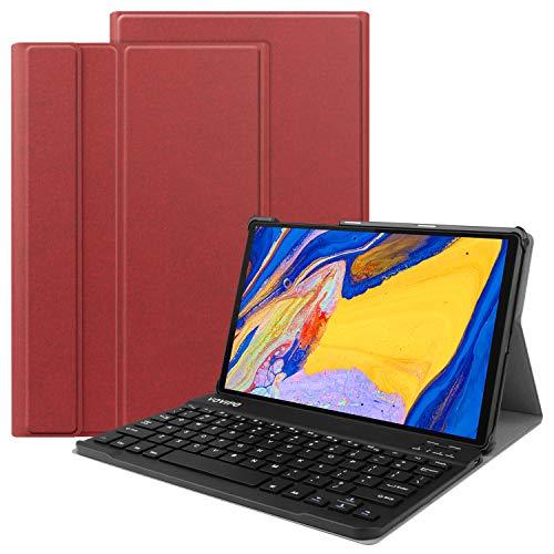 VOVIPO -  Funda de teclado para Lenovo Tab M10 Plus (disposición del Reino Unido),  funda delgada de poliuretano con teclado inalámbrico extraíble para Lenovo Tab M10 Plus TB- X606F