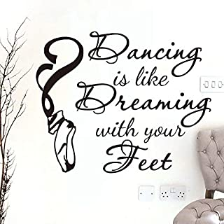 56X44cm,Wall Stickers for Living Room Sayings,Wall Tattoo Art,Without Dance What's The Pointe Ballet Shoes Sticker Art Family Door Refrigerator Wallpaper Gift Artwork Acrylic Bathrooms Kitchen