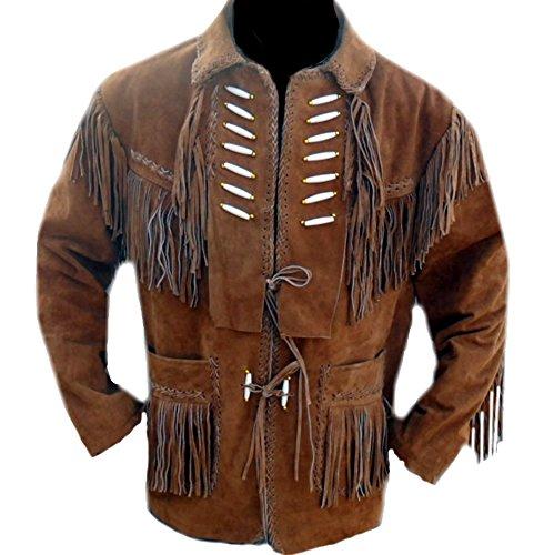 Classyak Herren Cowboy Lederjacke mit Knochen und Fransen Gr. XL - Brust 109/112 cm, Braun, Wildleder