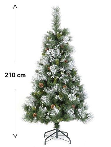Albero di Natale artificiale VERDE con rami semi innevati di BIANCO con pigne - Altezza 2.10 m, 855 rami