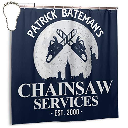 GSEGSEG Wasserdichter Polyester-Duschvorhang American Psycho Batemans Kettensäge Services-Druck, dekorativer Badezimmer-Vorhang mit Haken, 182,9 cm x 182,9 cm