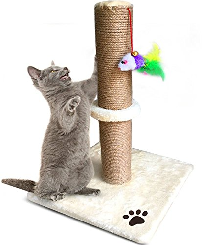 EVELTEK 猫爪とぎポール ツメとぎキャットタワー ポール型つめとぎ(麻縄巻き/おもちゃ付タイプ)