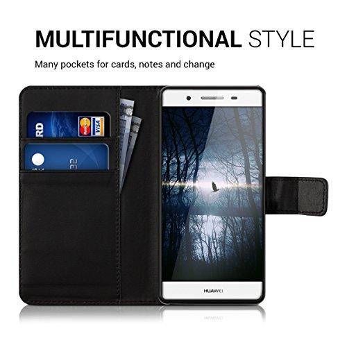 kwmobile Huawei GR3 / P8 Lite SMART Hülle - Kunstleder Wallet Case für Huawei GR3 / P8 Lite SMART mit Kartenfächern und Stand - Schwarz - 4