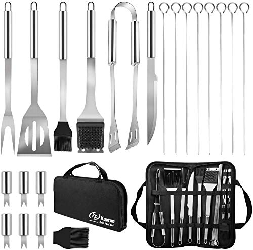 Kupton Grillbesteck Set, 21-Teiliges Edelstahl Grill Werkzeugset, Hochwertiges Grillzubehör Set, Perfektes Grill