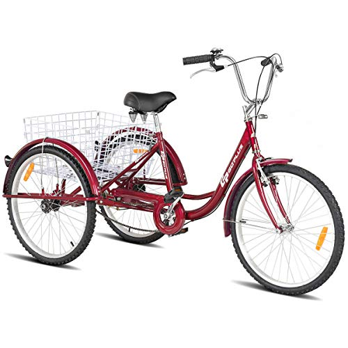 """Goplus Adult Tricycle Trike Cruise Bike Three-Wheeled Bicycle with Large Size Basket for Recreation, Shopping, Exercise Men's Women's Bike (Red, 24"""" Wheel)"""