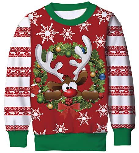 Goodstoworld Camiseta Navidad 3D Rudolf Impresión Niño Niña Ugly Funny Sudadera Baratas...