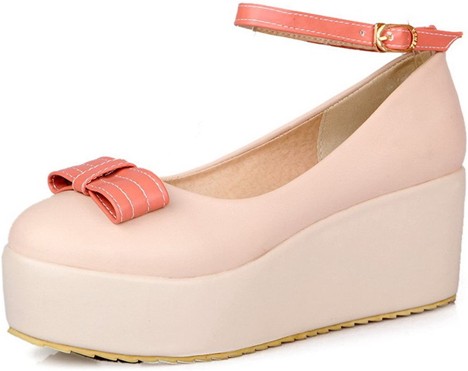 WeenFashion Women's Closed Round Toe Mid Heel Wedge Platform PU Solid Mary Jane Pumps whith Bowknot , Apricot, 9.5 B(M) US