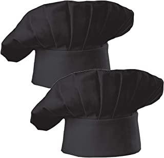 Hyzrz Chef Hat Set of 2 Adult Adjustable Elastic Baker Kitchen Cooking Chef Cap, Black