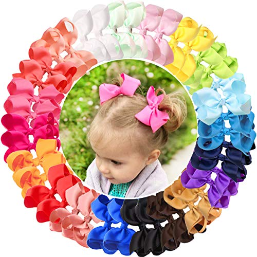 JOYOYO 40 lazos para el pelo para niñas y niñas, lazos para el pelo de 4.5 pulgadas, lazos para el pelo para niñas pequeñas