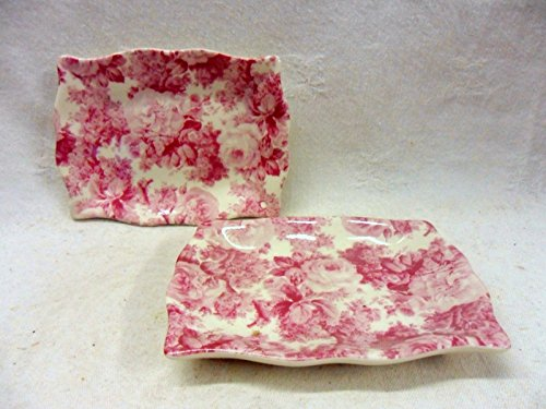 Set of two pink Laura chintz design soap trays.