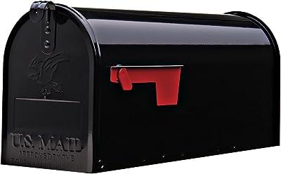Gibraltar Mailboxes Elite Medium Capacity Galvanized Steel Black, Post-Mount Mailbox, E1100B00