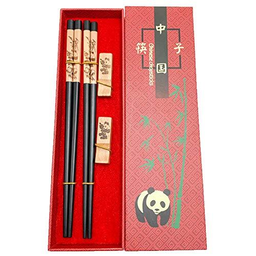 Mainiusi - Set di bacchette in legno con poggiapolsi riutilizzabili in legno naturale giapponese con...