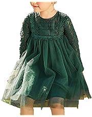 [美しいです]プリンセス ワンピース 長袖 ドレス 子供 ワンピース 女の子 チュールスカート 総レース ワンピース