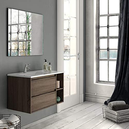 Aquareforma Mueble de Baño con Lavabo y Espejo   Mueble Baño Modelo Lover 2 Cajones Suspendido   Muebles de Baño   Diferentes Acabados Color   Varias Medidas (Britania, 80 cm)