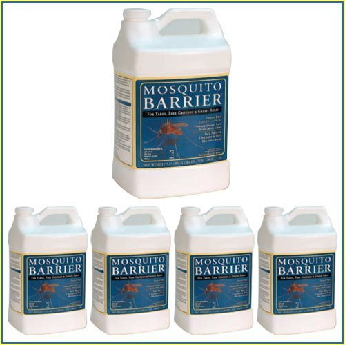 Mosquito Barrier Liquid Spray Repellent 5 Gallon Pack, For Grassy Areas; Yards, Parks, Athletic Fields And Golf Courses, Keeps Away ticks, fleas, gnats, fire ants and black flies for nearly a month