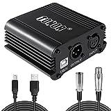 TONOR 48V Alimentación Phantom Fuente con Cable USB para Cualquier Equipo de Grabación de Música con Micrófono Condensador