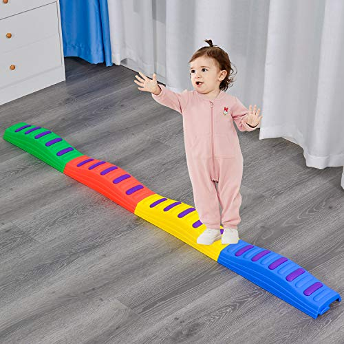 JIAOQIU 4PCS Wavy Balance Beams Stepping Stones for Kids can Improve Agility and Activity Anti-Skid Bottom MAX Load is 200LB Lndoor and Outdoor Toys for Kids