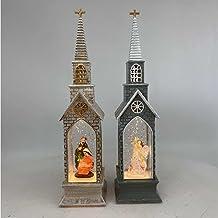 Drijvende Sneeuw Pailletten Kerk Wind Lamp Olielamp LED Lichtgevende Europese Vakantie Etalage Decoratie Nachtlampje 5.3 *...