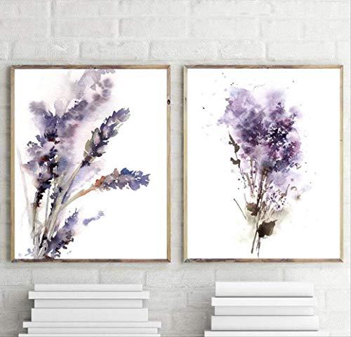 XCSMWJA Abstrakte Botanischen Lila Lavendel Und Flieder Drucke Blumen Malerei Wand Kunst Leinwand Gemälde Zimmer Home Decor Unframed 40x60cm