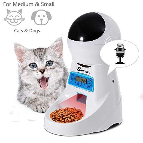 Sailnovo Dispensador Automático 4L de 4 Comidas Diarias para Mascotas