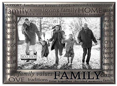 Malden International Designs - moderner Bilderrahmen Family Expressions, Zinn-Metallguss, 10,2 x 15,2 cm, silberfarben