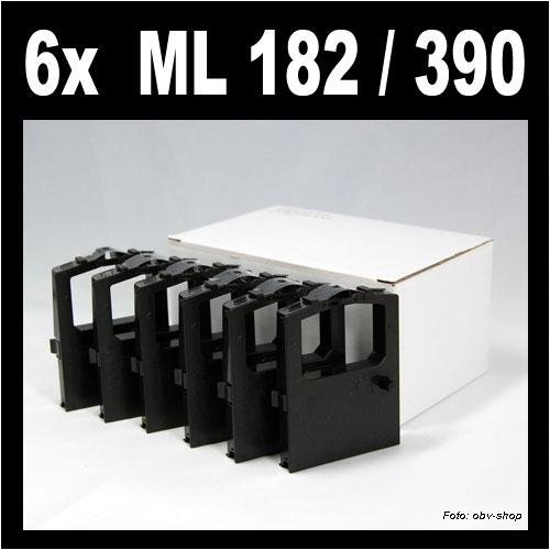 6 Stück kompatibles Farbband für Oki ML 182 / ML 390 / ML 100 120 172 180 182 183 184 186 188 192 193 195 240 280 320 321 325 351 390 391 3320 3321 ersetzt Oki 9002303/9002309