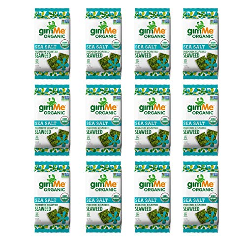 gimMe Snacks - Organic Roasted Seaweed - Sea Salt - (.17oz) - (Pack of 12) - non GMO, Gluten Free - Healthy on-the-go snack for kids & adults