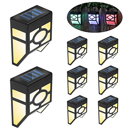 FLOWood Solar Fence Light, 2Modes LED Solar Wall Outdoor Light for Deck Garden,Yard,Driveway Path,Front Door and Landscape White/Multicolour Changing 8 Pack