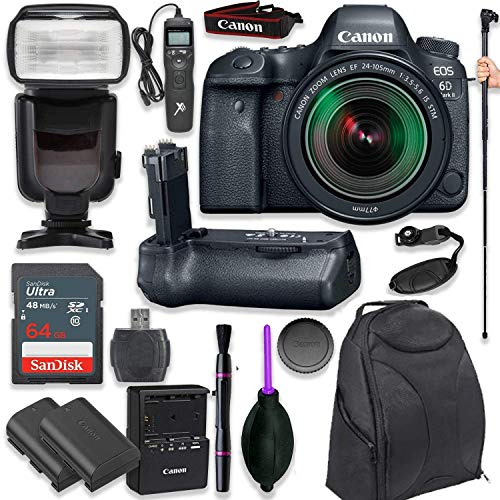 Canon EOS 6D Mark II DSLR with EF 24-105mm f/3.5-5.6 is STM Lens with Pro Camera Battery Grip, Professional TTL Flash, Deluxe Backpack, Spare LP-E6 Battery (17 Items) (Renewed)