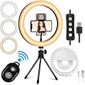 "Mansso 10"" LED Rechargeable Selfie Ring Light Set"