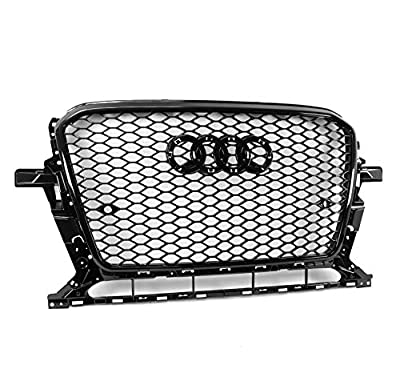 ZMAUTOPARTS RSQ5 Style Honeycomb Mesh Hex Grille Gloss Black Compatible with 2013-2017 Audi Q5 SQ5