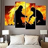 DJxqJ 5 Leinwanddrucke 4 Stück Leinwand Kunst Hd Print Raging Flame Feuerwehrmänner Silhouette Malerei Wandbilder für Wohnzimmer Wanddekoration