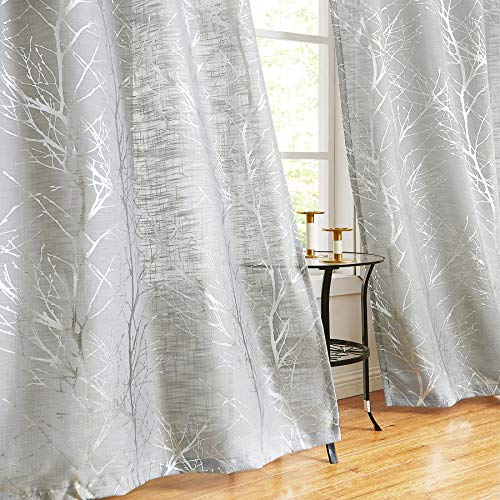 """Metallic Tree Curtains for Bedroom Living Room 54"""" Foil Silver on Grey Tree Print Semi-Sheer Window Drapes Linen Texture Light Filtering Curtain Panels for Small Windows Grommet Top, 2 Panels"""