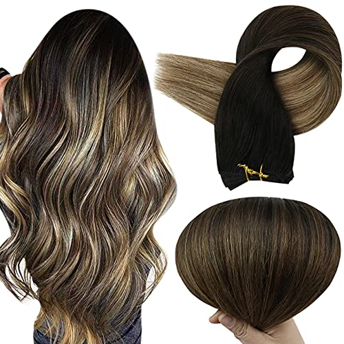 Full Shine Hair Weft Human Hair 22 Inch Sew in Hair Extensions Balayage Color Hair Wefts 1B Off Black Fading to 6 Brown and 27 Honey Blonde Sew in Bundles 100 Gram