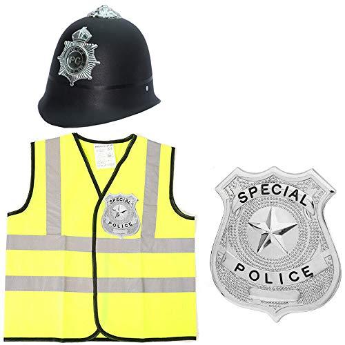Polismössa för barn tjusig klänning set med hög visir jacka, polishatt & polis lugg fantastisk klänning keps kostym kostym pojkar flickor (stor)