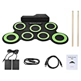 Muslady Compact Size Portable Digital Electronic Roll Up Drum Kit 7 Silicon Drum