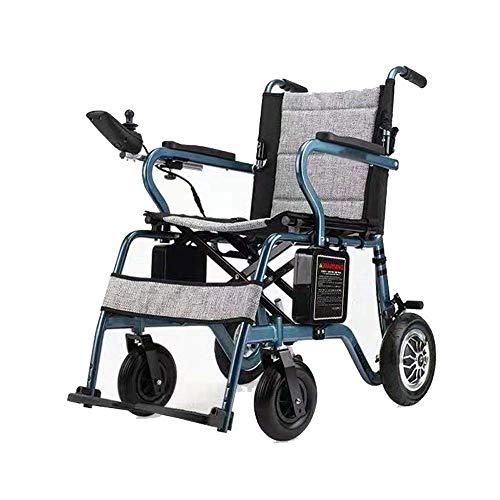 WXDP Silla de ruedas autopropulsada, ultraligera plegable portátil motorizada, batería de litio de 10 Ah, freno doble compacto, velocidad máxima 6 km/h