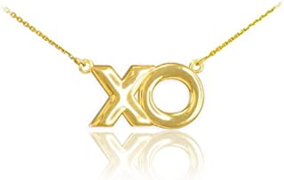 14k Yellow Gold XO Charm Hugs and Kisses Pendant Necklace, 16