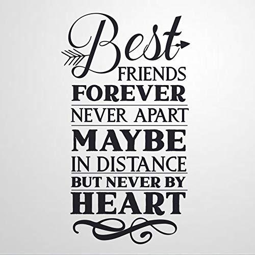 Adhesivo decorativo para pared, diseño de citas con texto en inglés 'Best Friends Forever Never Apar', color negro