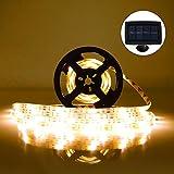 Tira de LED Lámparas Solares RGB 5M 100 LEDs Blanco Cálido Impermeable IP65 con 2 Modos de Sensor de Luz Auto ON/OFF Guirnaldas...
