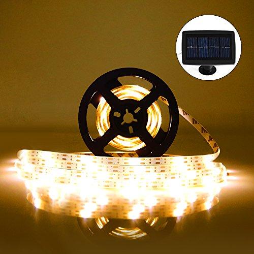 Guirlande Lumineuse Ruban LED(5m) Bande LED Lumineuse(100 Unités) Strip Light Flexible Décoration Eclairage Idéal, Bande Ruban Etanche+Panneaux Solaires avec 2 Modes pour Soirée Fête Nöel