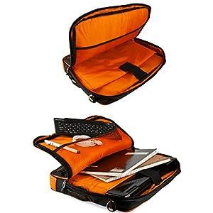 VanGoddy Pindar Neon Orange Trim Messenger Bag w/USB HUB and Wireless Mouse for iView Ultima / 1330NB / 13.3inch Laptops