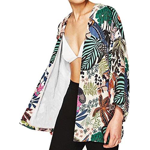 Culater Mujeres Tops Cardigan Chal de Gasa Kimono Impresos Encubrir Blusa (M, Flores)