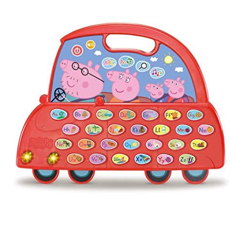 VTech - El Coche Alfabeto de Peppa Pig, Juguete niños +3 años, aprende el abecedario, descubre Nuevo Vocabulario, más de 200 Sonidos, Frases, Canciones y melodías, Muticolor
