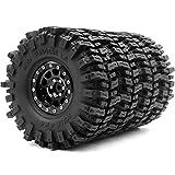 4pcs RC 1.9 Mud Slingers Tires Super Grip Tyre Height 120mm / 4.72inch & 1.9 Beadlock Wheel Rim Hex 12mm Black Color