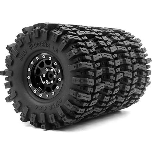 hobbysoul 4 Stück RC 1.9 Mud Slingers Reifen Super Grip Reifenhöhe 120mm / 4.72inch & 1.9 Beadlock Rad Felge Hex 12mm Schwarz Farbe