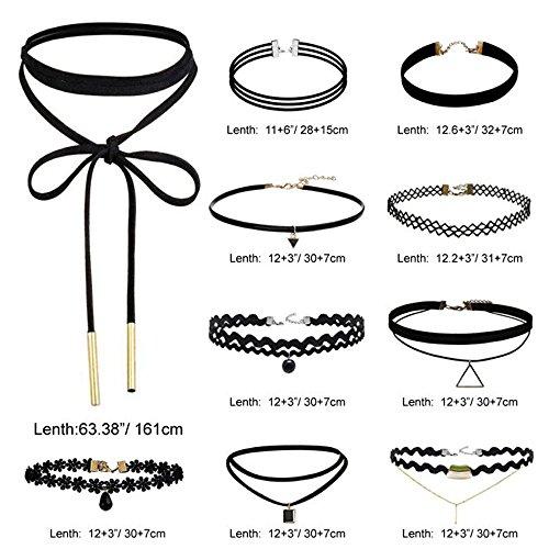Elegant Rose - Lote de 23gargantillas de terciopelo negro con colgantes de triángulo en aleación o cristal y encaje negro, efecto tatuaje, estilo gótico, para mujer