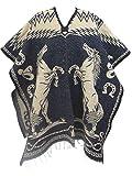 Leos Imports Authentic Mexican Poncho Cobija Gaban Blanket Horses Design (Navy Tan)